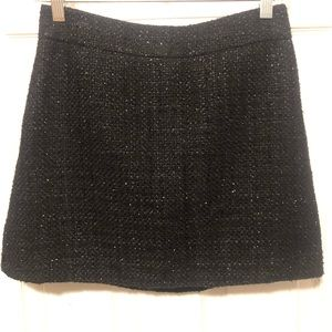Black Boucle With Silver Detail Mini Skirt